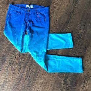 Jolt two toned skinny pants vibrant blues size 1
